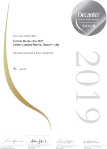 Certificate Silver Medal 93 point Decanter world wine awards
